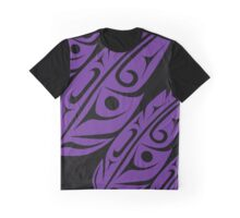 Four Feathers Purple on Black 2 Graphic T-Shirt