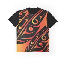 Four Feathers Black on Fire-Orange Graphic T-Shirt