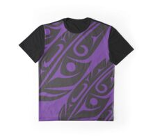 Four Feathers Black on Purple Graphic T-Shirt