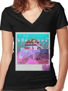 SOFTVORE: Vaporwave Gone Wild Women's Fitted V-Neck T-Shirt