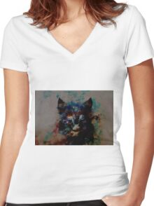 cat milky way Women's Fitted V-Neck T-Shirt