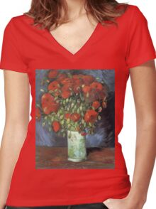 Vincent Van Gogh - Vase With Red Poppies, 1886 Women's Fitted V-Neck T-Shirt