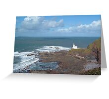 REMOTE HARTLAND POINT LIGHTHOUSE AND LUNDY ISLAND DEVON Greeting Card