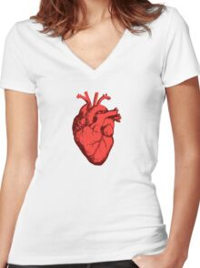 Actual Heart Women's Fitted V-Neck T-Shirt