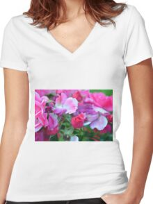 Beautiful gentle pink roses background Women's Fitted V-Neck T-Shirt