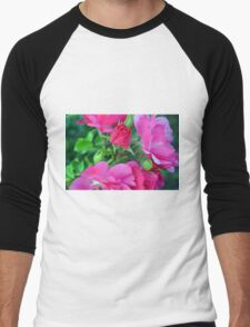 Beautiful gentle pink roses background Men's Baseball ¾ T-Shirt