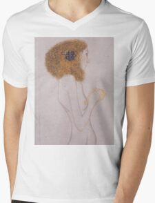 Gustav Klimt - Beethoven Frieze, Detal, The Suffering Of The Poor People, 1902 Mens V-Neck T-Shirt