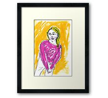 Pink Jumper girl Framed Print