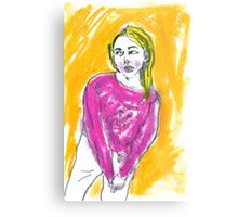 Pink Jumper girl Metal Print
