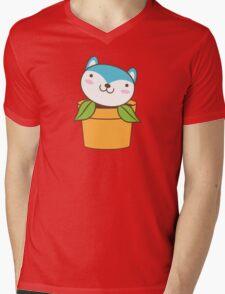 cute little blue husky dog in a pot plant Mens V-Neck T-Shirt