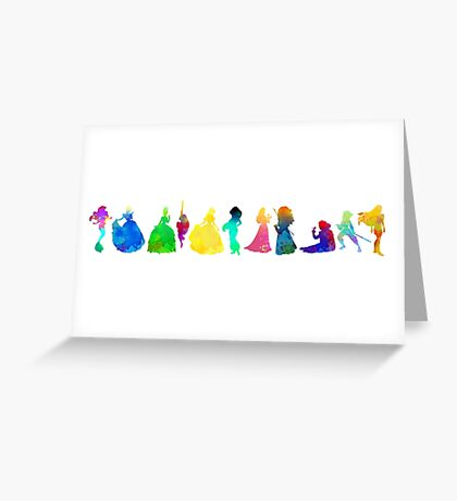 11 Princesses Inspired Silhouette Greeting Card