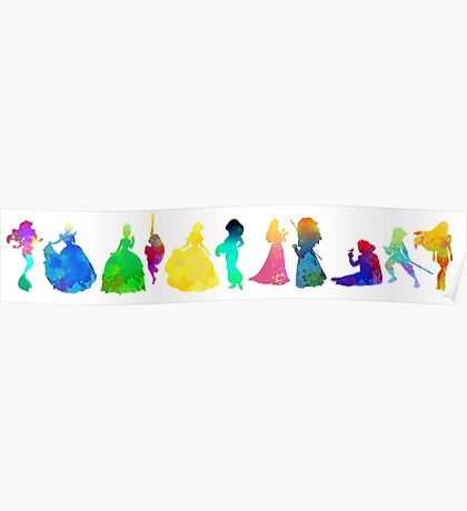 11 Princesses Inspired Silhouette Poster