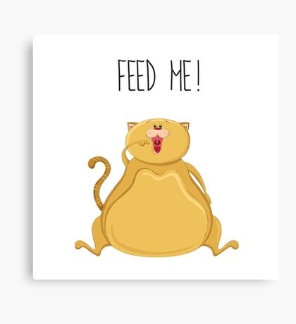 Fat cartoon cat asking for food Canvas Print