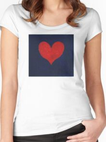 Simple red heart on blue Women's Fitted Scoop T-Shirt
