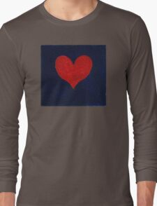 Simple red heart on blue Long Sleeve T-Shirt