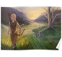 Wandering The Land - Fantasy Archer Painting Poster
