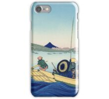 Hokusai Katsushika - Sunset across the Ryogoku bridge from the bank of the Sumida River at Onmayagashi iPhone Case/Skin