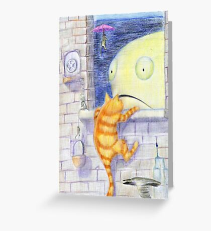 Red Cat Stories - Red cat is storming Fish castle Greeting Card