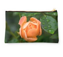 Water Droplets on a Peach Rose  Studio Pouch