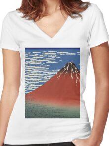 Hokusai Katsushika - Red Fuji southern wind clear morning Women's Fitted V-Neck T-Shirt