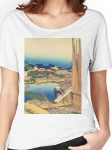 Hokusai Katsushika - Pleasure District at Senju Women's Relaxed Fit T-Shirt