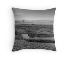 Boat and Mill Throw Pillow