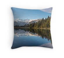 Southern Alps reflection on Lake Matheson, NZ Throw Pillow