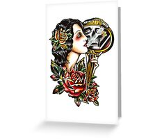 Traditional Girl Tattoo Skeleton Reflection Greeting Card