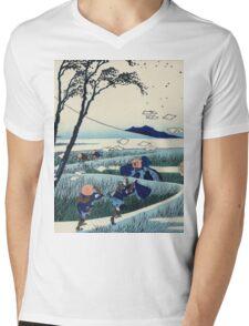 Hokusai Katsushika - Ejiri in Suruga Province Mens V-Neck T-Shirt