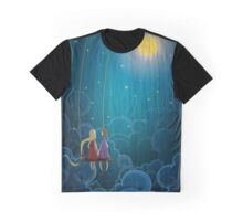 Couple illustration on a swing above clouds with moon and stars Graphic T-Shirt
