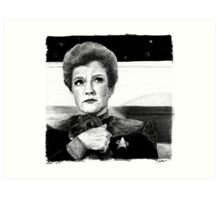 Captain Janeway...AND A PUPPY! Art Print