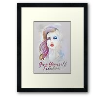Give yourself freedom! Hand-painted portrait of a woman in watercolor. Framed Print