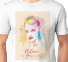 Believe in yourself! Hand-painted portrait of a woman in watercolor.  Unisex T-Shirt