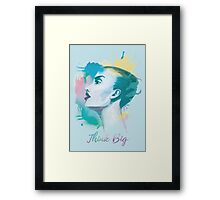 Think big! Hand-painted portrait of a woman in watercolor. Framed Print