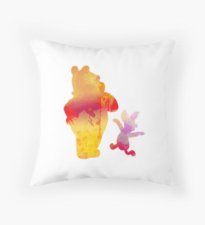 Bear and Pig Inspired Silhouette Throw Pillow