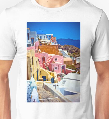 colorful houses on Santorini Unisex T-Shirt