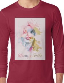 Always smile! Hand-painted portrait of a woman in watercolor. Long Sleeve T-Shirt