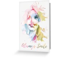 Always smile! Hand-painted portrait of a woman in watercolor. Greeting Card