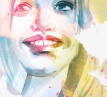 Always smile! Hand-painted portrait of a woman in watercolor. Sticker