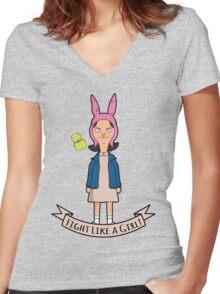 Stranger Belchers - Fight Like a Girl Women's Fitted V-Neck T-Shirt