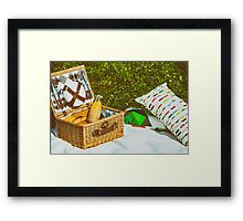 Picnic Basket Food On White Blanket With Pillows In Summer Framed Print