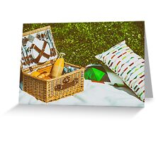 Picnic Basket Food On White Blanket With Pillows In Summer Greeting Card