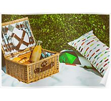 Picnic Basket Food On White Blanket With Pillows In Summer Poster