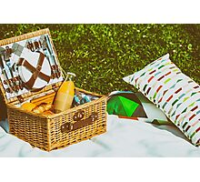 Picnic Basket Food On White Blanket With Pillows In Summer Photographic Print