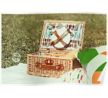 Picnic Basket Food On White Blanket With Pillows And Soap Bubbles Poster
