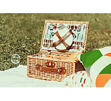 Picnic Basket Food On White Blanket With Pillows And Soap Bubbles Photographic Print