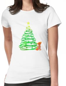 Christmas Lion Cub Inspired Silhouette Womens Fitted T-Shirt