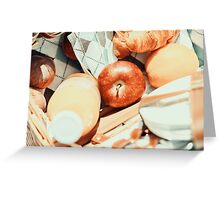 Juice Bottle, Peaches, Apple, Orange And Croissant In Food Picnic Basket Greeting Card