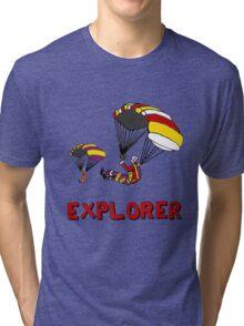 the Real EXPLORER shirt - Dustin's Explorer shirt in Stranger Things Tri-blend T-Shirt