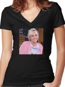 Miley Cyrus - jimmy fallon 2016 Women's Fitted V-Neck T-Shirt